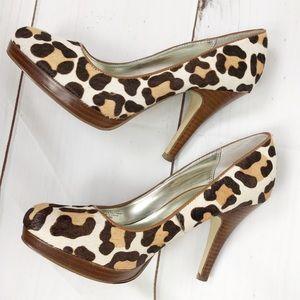 Alfani calf hair Leopard print platform heels sz 7